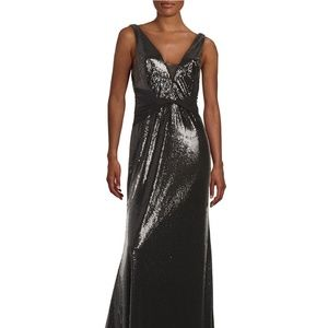 Vera Wang  V Neck Sequin Gown